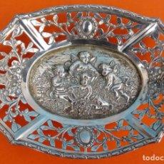 Antigüedades: BANDEJA DE PLATA MACIZA, FINALES S. XIX. DIM.- 11.2X8.2 CMS.. Lote 115388711