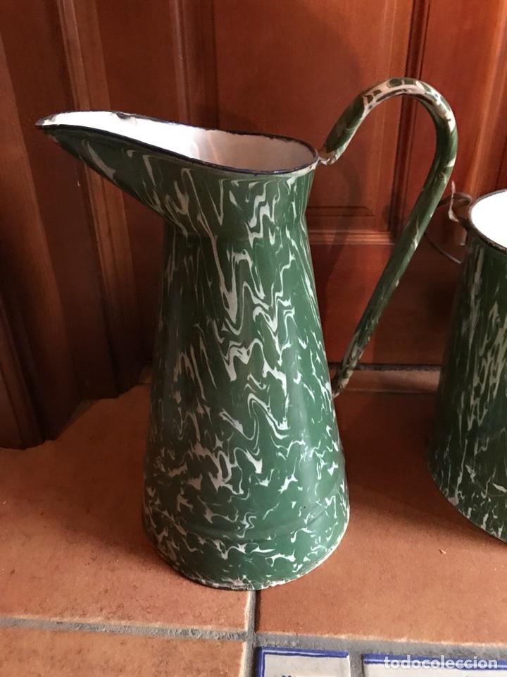 Antigüedades: Jarra y cubo de porcelana esmaltada - Foto 2 - 115399795