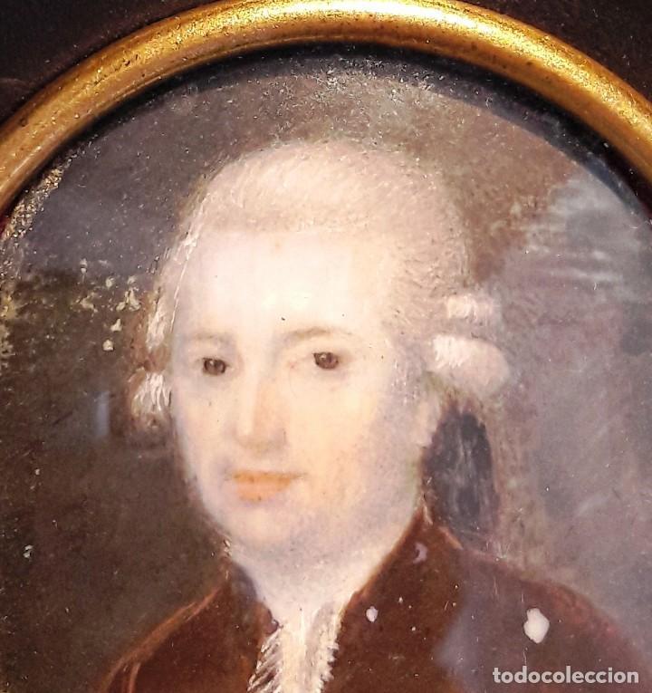 Antigüedades: Retrato en miniatura pintado sobre marfil siglo XVIII - Foto 2 - 115403755