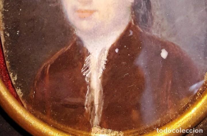 Antigüedades: Retrato en miniatura pintado sobre marfil siglo XVIII - Foto 3 - 115403755