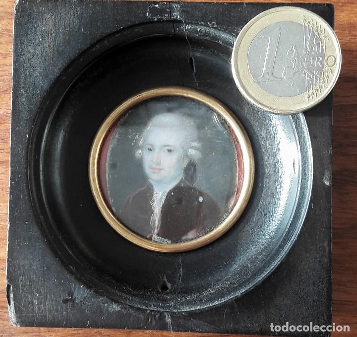 Antigüedades: Retrato en miniatura pintado sobre marfil siglo XVIII - Foto 4 - 115403755