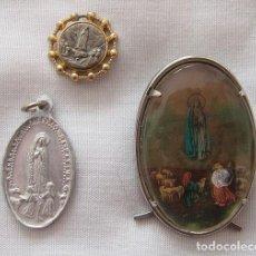 Antigüedades: LOTE VIRGEN DE FATIMA MEDALLAS Y CAPILLITA. Lote 115409811