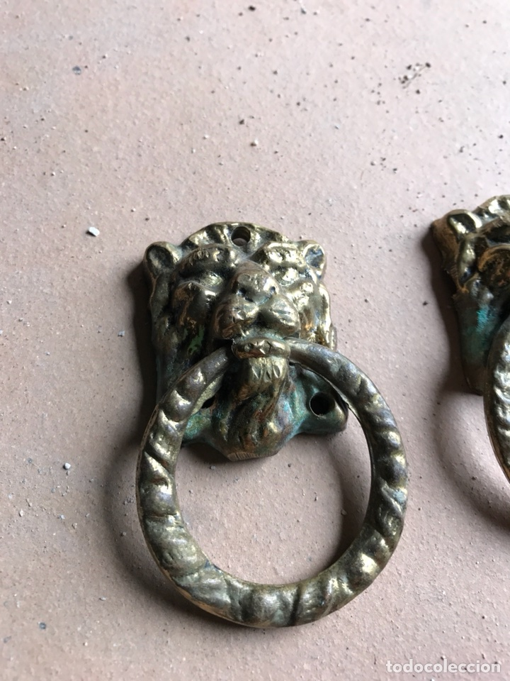 Antigüedades: Tiradores de bronce - forma de Leon (2 unidades ) - Foto 3 - 115415578