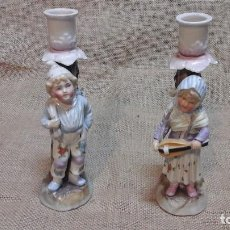Antigüedades - Pareja de candelabros alemanes en porcelana . Conta Boehme circa 1900 - 115423919