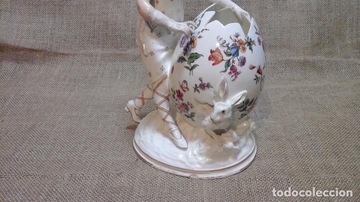 Antigüedades: Dama-florero con piel de conejo . . Marcada Heubach 1882-1905. Schutz-marke ( dep) - Foto 2 - 131085468