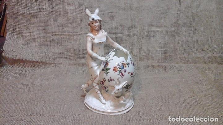 Antigüedades: Dama-florero con piel de conejo . . Marcada Heubach 1882-1905. Schutz-marke ( dep) - Foto 4 - 131085468