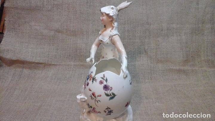 Antigüedades: Dama-florero con piel de conejo . . Marcada Heubach 1882-1905. Schutz-marke ( dep) - Foto 5 - 131085468