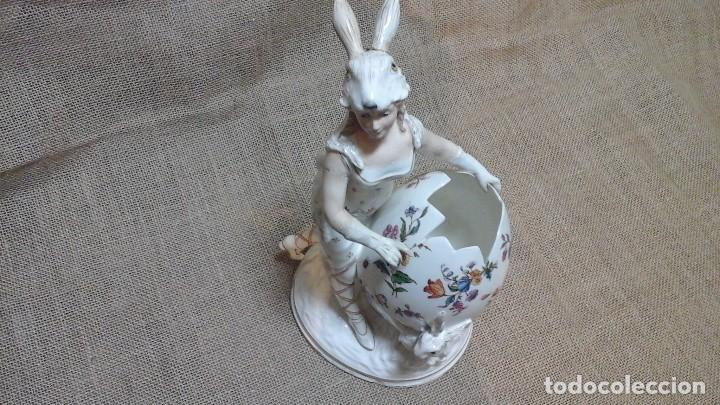 Antigüedades: Dama-florero con piel de conejo . . Marcada Heubach 1882-1905. Schutz-marke ( dep) - Foto 14 - 131085468
