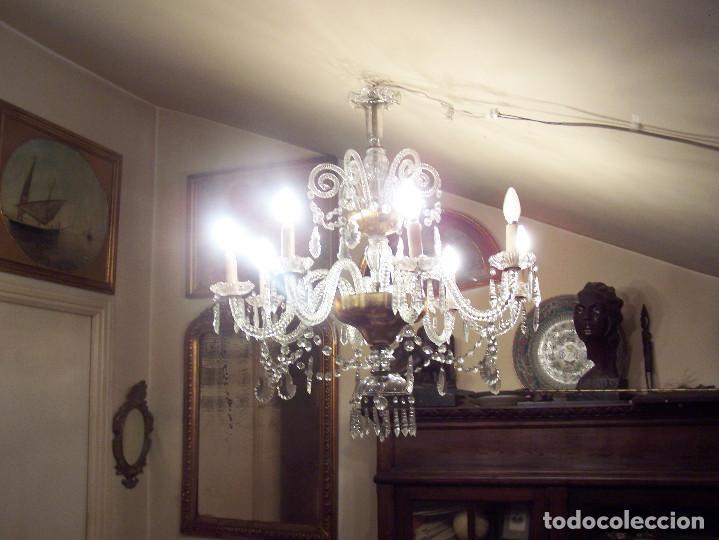Antigüedades: Lámpara de cristal de la Granja principio de siglo XX de ocho brazos, funcionamiento en dos fases. - Foto 6 - 115507383