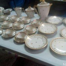 Antigüedades: IMPRESIONANTE ANTIGUO JUEGO DE CAFE Y POSTRE DE LIMOGES. Lote 115528762