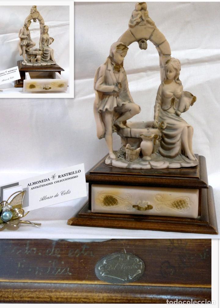 ANTIGUA CAJA-JOYERO EN MADERA Y MARFILINA. -DEL VECCHIO- RCDO. DE ESTA FAMILIA DE BILBAO. (Antigüedades - Hogar y Decoración - Cajas Antiguas)