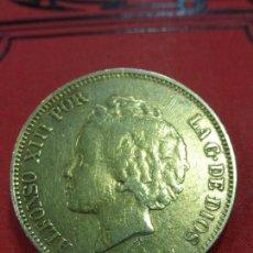 Antigüedades: ANTIGUO ORIGINAL BROCHE PRENDEDOR PLATA DORADA DE AUTÉNTICA MONEDA ALFONSO XIII DE 1892-PESO 25,7 G. Lote 115533775