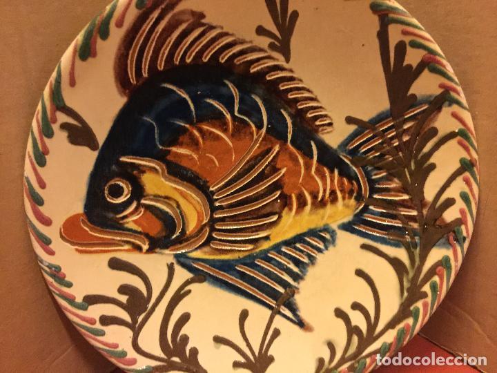 Antigüedades: Plato de Ceramica catalana de La Bisbal. Firma en dorso L Salomo - PEZ. Ver mas fotos. Impecable - Foto 3 - 115559195
