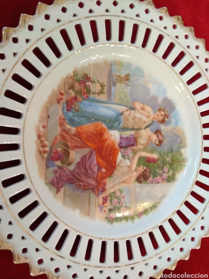 Antigüedades: Pareja de platos porcelana - Foto 9 - 115564364