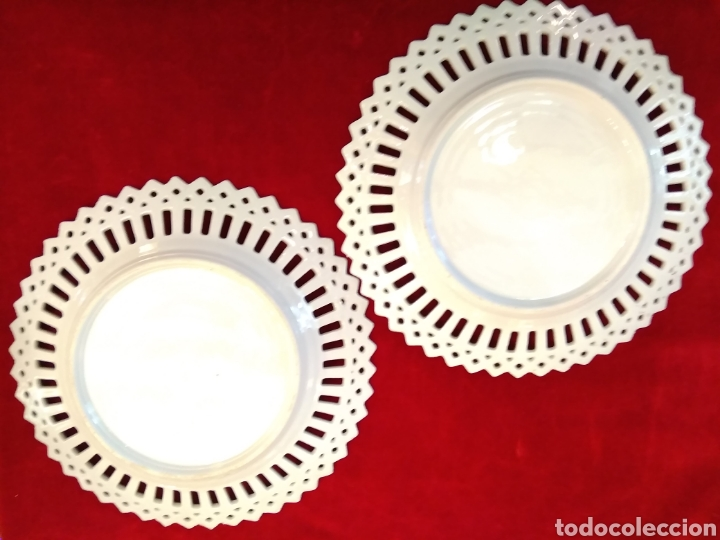 Antigüedades: Pareja de platos porcelana - Foto 2 - 115564364