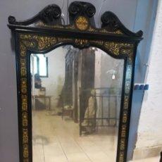 Antigüedades - GRAN ESPEJO EBANIZADO, CERCA DE 1.840, CON RICA TARACEA DE MARFIL, LUNA VISELADA ORIGINAL - 115566947