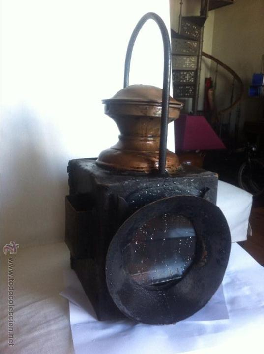 FAROL FERROVIARIO TREN (Antigüedades - Iluminación - Faroles Antiguos)
