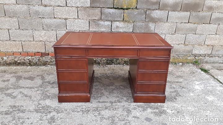 Antigüedades: Escritorio antiguo estilo inglés. Mesa de despacho antigua cuero marrón. - Foto 14 - 115624943