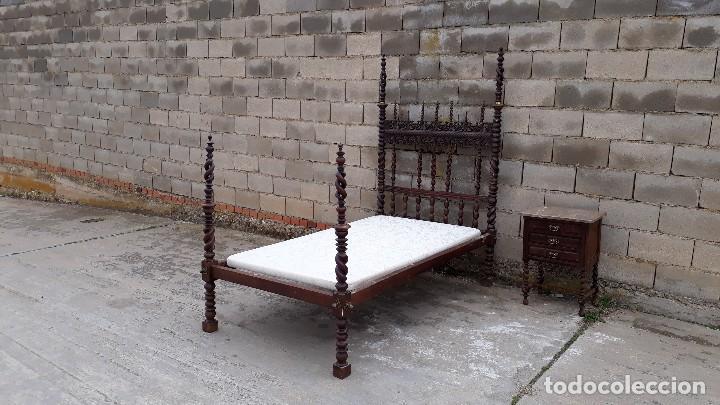 Antigüedades: Cama antigua portuguesa estilo Luis XIII barroco gótico o renacimiento rústico cabecero antiguo - Foto 2 - 115626223