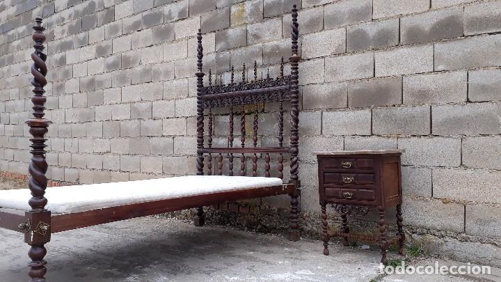 Antigüedades: Cama antigua portuguesa estilo Luis XIII barroco gótico o renacimiento rústico cabecero antiguo - Foto 9 - 115626223