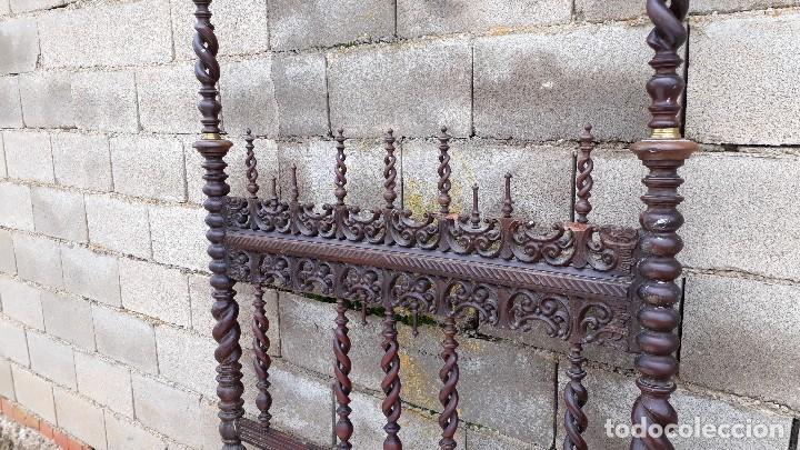 Antigüedades: Cama antigua portuguesa estilo Luis XIII barroco gótico o renacimiento rústico cabecero antiguo - Foto 10 - 115626223