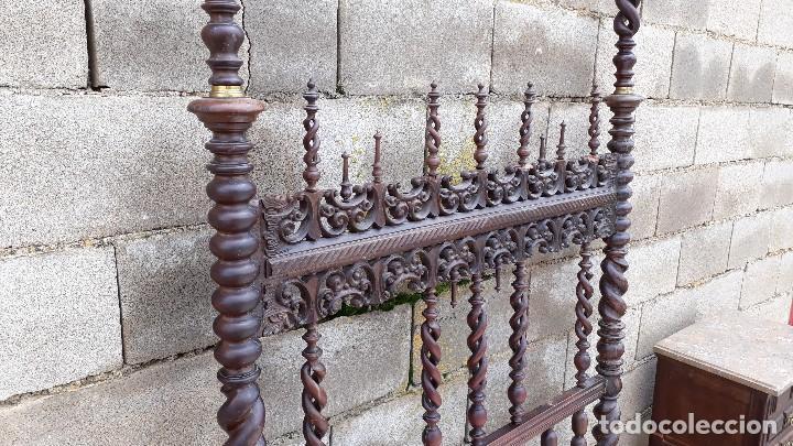 Antigüedades: Cama antigua portuguesa estilo Luis XIII barroco gótico o renacimiento rústico cabecero antiguo - Foto 14 - 115626223