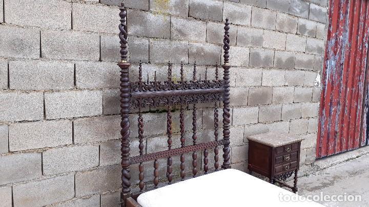 Antigüedades: Cama antigua portuguesa estilo Luis XIII barroco gótico o renacimiento rústico cabecero antiguo - Foto 15 - 115626223