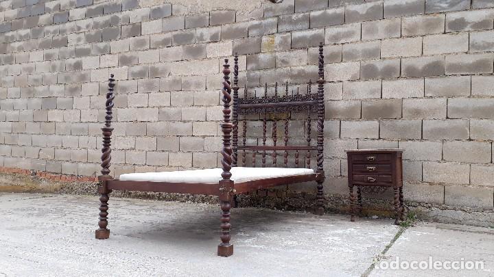 Antigüedades: Cama antigua portuguesa estilo Luis XIII barroco gótico o renacimiento rústico cabecero antiguo - Foto 19 - 115626223