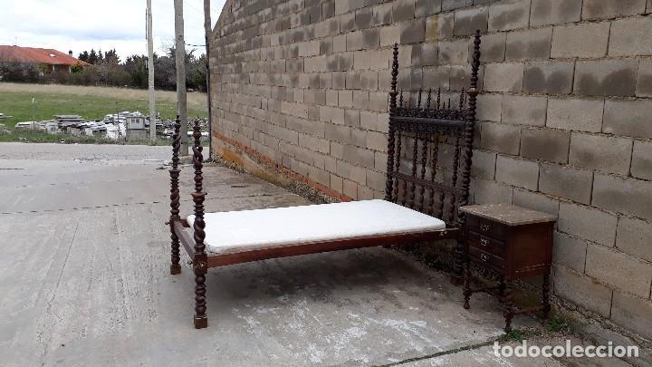 Antigüedades: Cama antigua portuguesa estilo Luis XIII barroco gótico o renacimiento rústico cabecero antiguo - Foto 28 - 115626223
