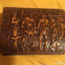 Antigüedades: PURERA CUERO REPUJADO. FRAGUA DE VULCANO DE VELÁZQUEZ.. Lote 115650979