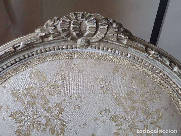 Antigüedades: Sillón francés estilo luis XVI, decapé envejecido. - Foto 2 - 115708571