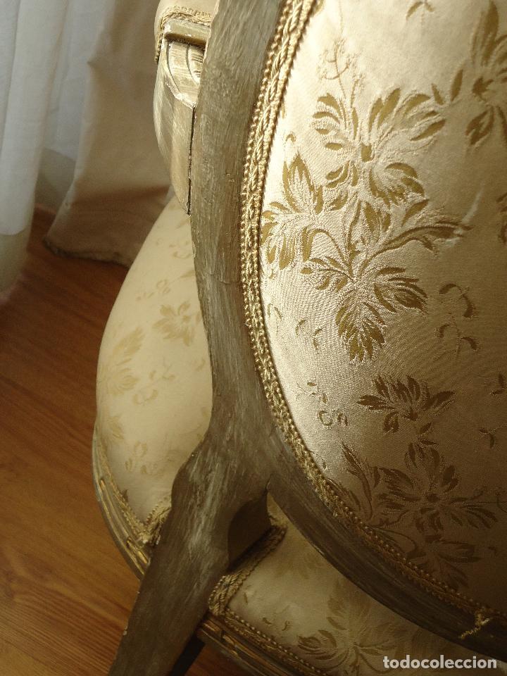 Antigüedades: Sillón francés estilo luis XVI, decapé envejecido. - Foto 5 - 115708571