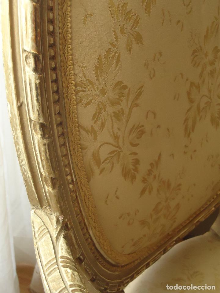 Antigüedades: Sillón francés estilo luis XVI, decapé envejecido. - Foto 9 - 115708571