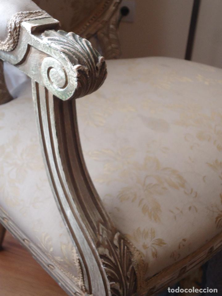 Antigüedades: Sillón francés estilo luis XVI, decapé envejecido. - Foto 10 - 115708571