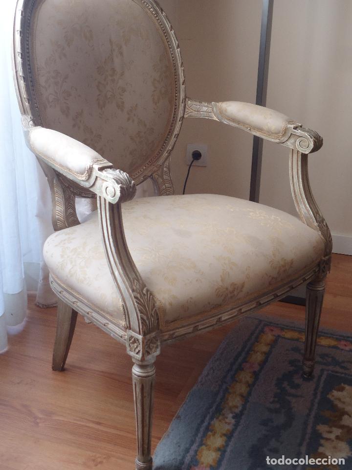 Antigüedades: Sillón francés estilo luis XVI, decapé envejecido. - Foto 11 - 115708571