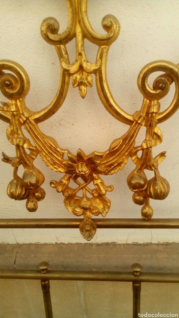 Antigüedades: Cabecero dorado isabelino de 150 - Foto 7 - 112091752