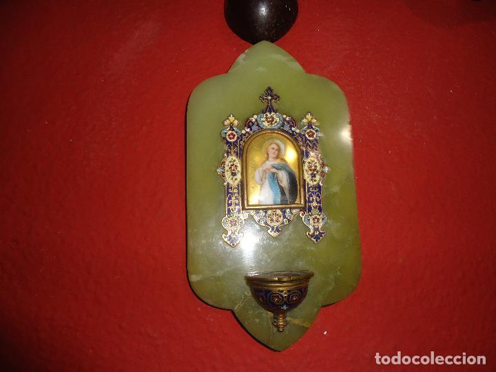 BENDITERA DE ONIX CLOISONNE (Antigüedades - Religiosas - Benditeras)