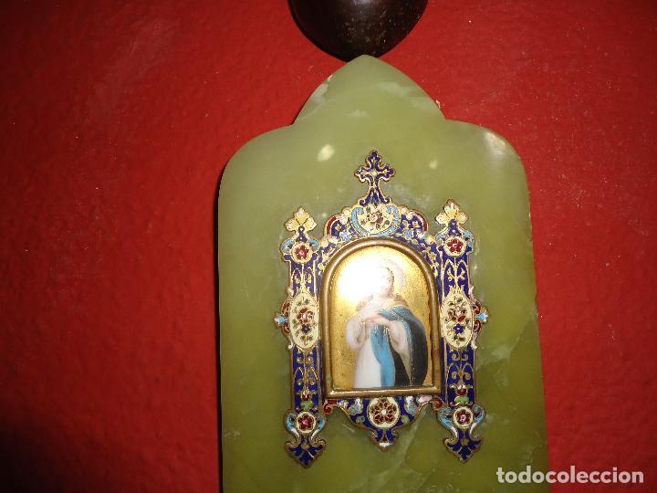 Antigüedades: BENDITERA DE ONIX CLOISONNE - Foto 3 - 115743295