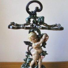 Antigüedades: IMPRESIONANTO BASTONERO / PARAGUERO DE HIERRO FUNDIDO 65X40CM APROX, 13KG APROX. Lote 115743419