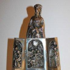 Antigüedades: ESCULTURA EN PLATA DE LEY DAMA CON TRÍPTICO REPRESENTANDO ESCENAS DE ENRIQUE VIII - PLATERO LÓPEZ. Lote 115749091