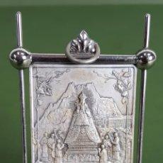 Antigüedades: VIRGEN DE MONTSERRAT. METAL PLATEADO. S.J. PLACA ESTAMPADA. SIGLO XX. . Lote 115766819