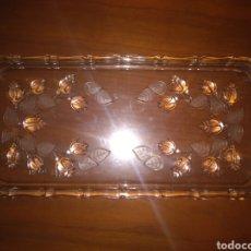 Antiquitäten - PRECIOSA BANDEJA CRISTAL TALLADO FLORES EN RELIEVE AÑOS 30 35*15cm - 153972326