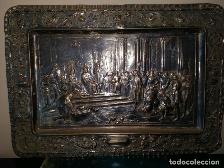 Antigüedades: BANDEJA COBRE - COLON ANTE LOS REYES CATÓLICOS AL REGRESO DEL PRIMER VIAJE - CON SELLO - Foto 2 - 115885999