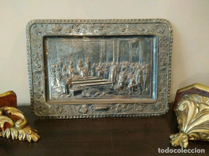 Antigüedades: BANDEJA COBRE - COLON ANTE LOS REYES CATÓLICOS AL REGRESO DEL PRIMER VIAJE - CON SELLO - Foto 4 - 115885999