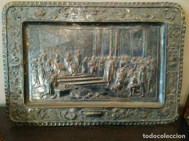 Antigüedades: BANDEJA COBRE - COLON ANTE LOS REYES CATÓLICOS AL REGRESO DEL PRIMER VIAJE - CON SELLO - Foto 5 - 115885999