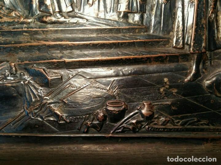 Antigüedades: BANDEJA COBRE - COLON ANTE LOS REYES CATÓLICOS AL REGRESO DEL PRIMER VIAJE - CON SELLO - Foto 7 - 115885999