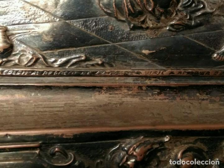 Antigüedades: BANDEJA COBRE - COLON ANTE LOS REYES CATÓLICOS AL REGRESO DEL PRIMER VIAJE - CON SELLO - Foto 8 - 115885999