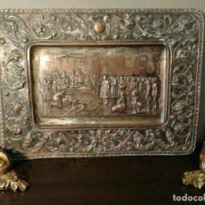 Antigüedades: BANDEJA COBRE - COLON ANTE LOS REYES CATÓLICOS AL REGRESO DEL PRIMER VIAJE - CON SELLO F Y C. Lote 115887631