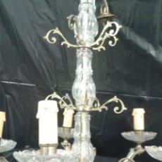 Antigüedades: ANTIGUA LAMPARA BRONCE Y CRITAL. Lote 115934178