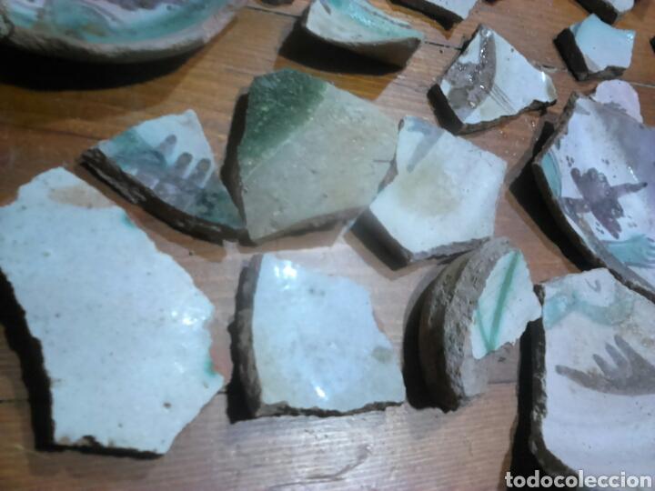 Antigüedades: Antiguos trozos,de cerámica, siglo XVII-XVIII,ideal coleccionistas - Foto 2 - 115934500